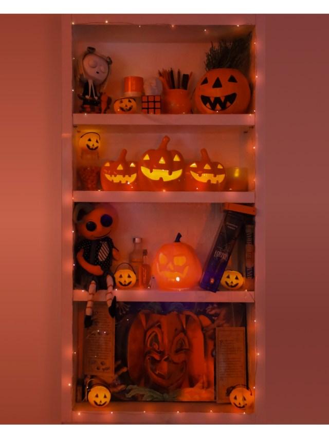 halloween display shelf