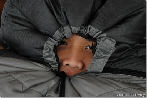 Limit air exchange between inside and outside - sleeping bag