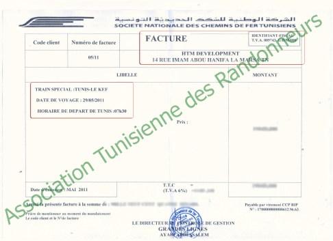 Facture SNCFT - HTM Developpment - Kef Express