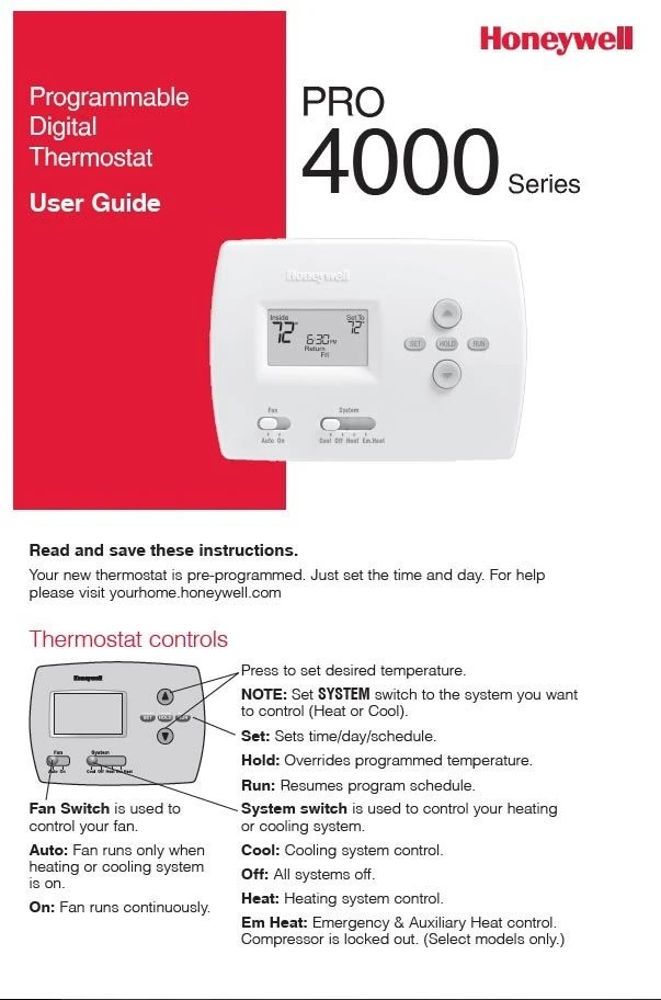 Honeywell Pro 4000 Series Manual
