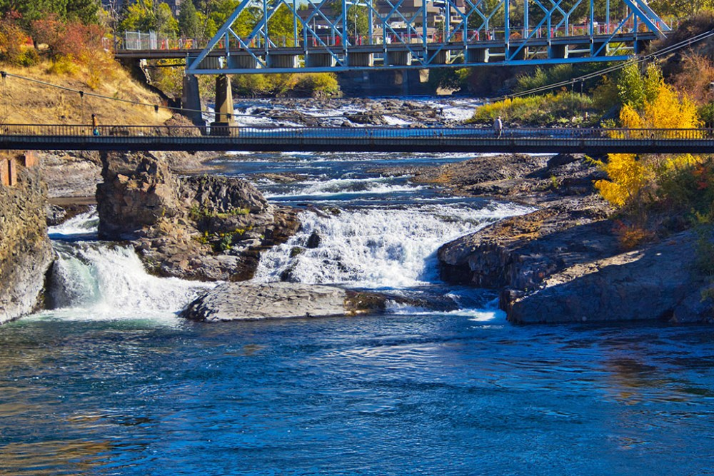 Spokane Falls in downtown Spokane, Washington.