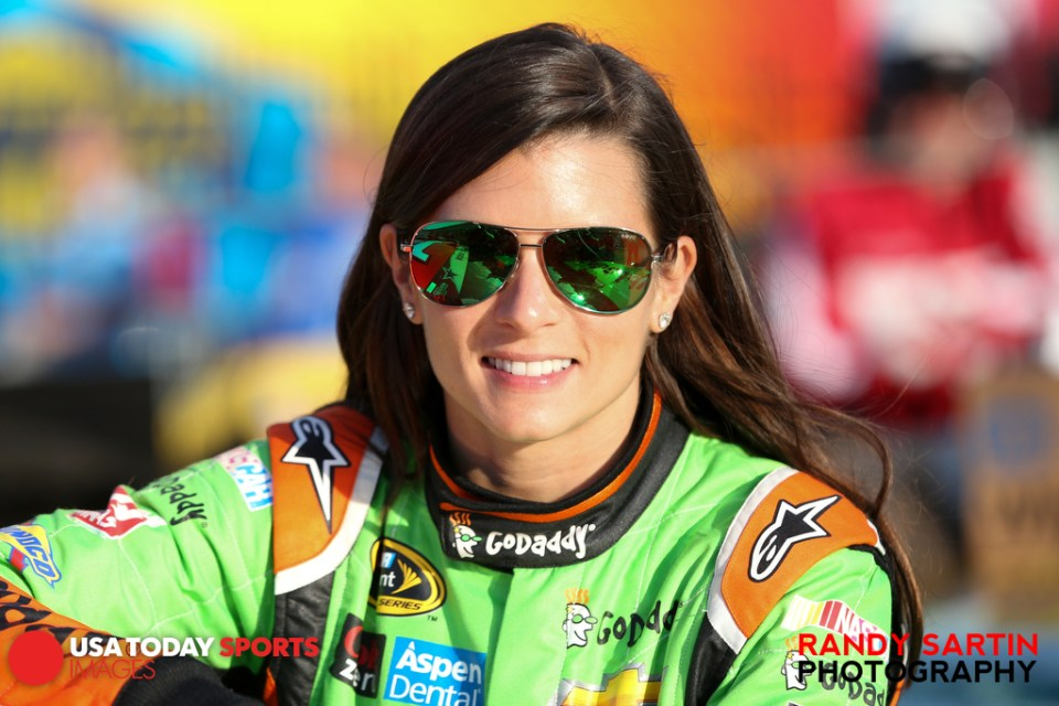 May 21, 2015; Concord, NC, USA; NASCAR Sprint Cup Series driver Danica Patrick (10) before qualifying for the Coca-Cola 600 at Charlotte Motor Speedway. Mandatory Credit: Randy Sartin-USA TODAY Sports
