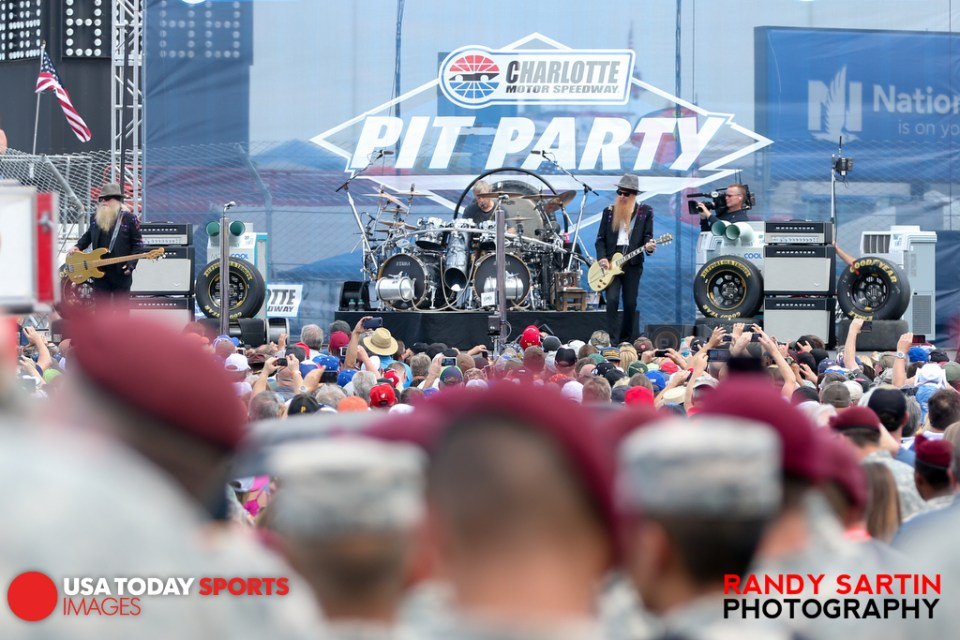 May 24, 2015; Concord, NC, USA; The band ZZ Top performs for members of the U.S. Military and fans before the NASCAR Coca-Cola 600 at Charlotte Motor Speedway. Mandatory Credit: Randy Sartin-USA TODAY Sports
