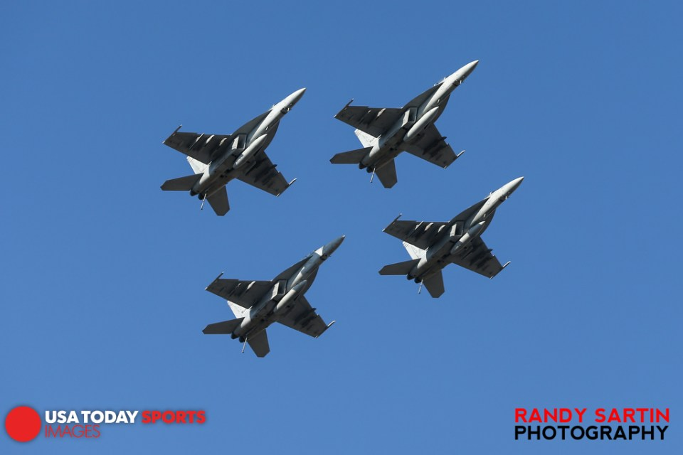May 24, 2015; Concord, NC, USA; F-18's fly over before the NASCAR Coca-Cola 600 at Charlotte Motor Speedway. Mandatory Credit: Randy Sartin-USA TODAY Sports