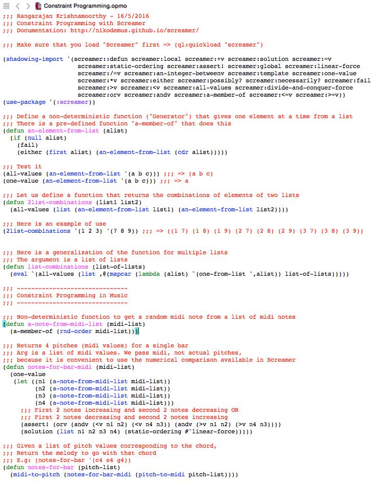 Constraint Programming in Screamer