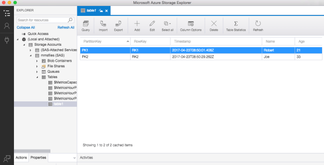 New Rows in Storage Explorer