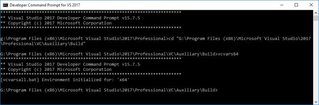 Configuring VS2017