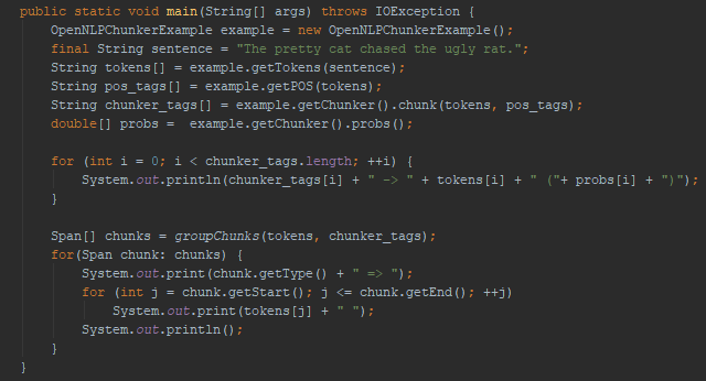 Printing Chunked Tags with Probability