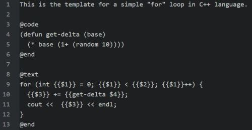 Embedded Template - For Loop