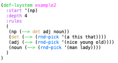 An L-system for Simple Noun Phrase