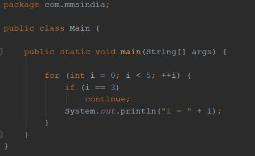 """Continue"" in Java"