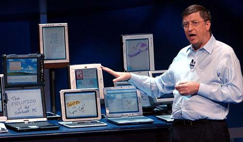 Bill gates with tablets