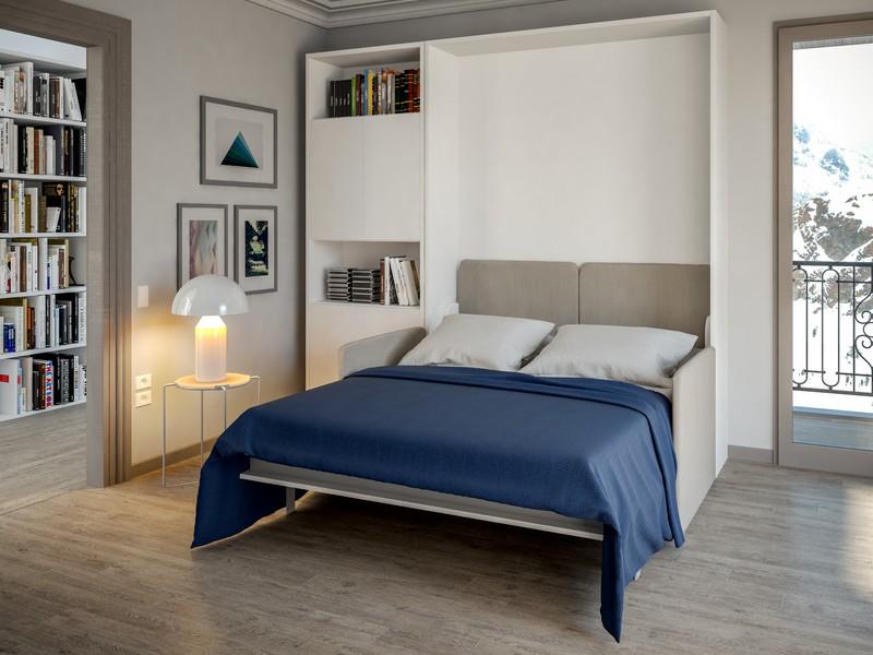 lit escamotable blanc avec sofa nantes