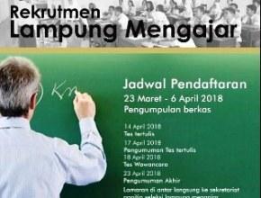 Rekrutmen Lampung Mengajar 2018, Loker guru lampung 2018, info lowongan guru 2018, info terbaru lowongan mengajar lampung 2018