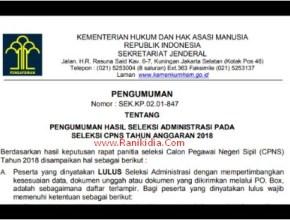 CPNS KEMENKUMHAM 2018; Daftar Nama Lengkap Lulus Seleksi Administrasi