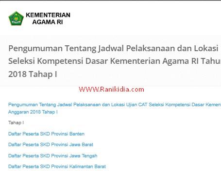Jadwal Sesi dan Lokasi Tes SKD CPNS KEMENAG 2018 Tahap I