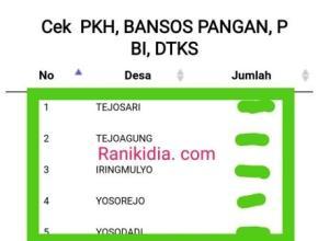 Cara Cek Tiap Desa/Kelurahan Peneriman PKH, BANSOS PANGAN, PBI, DTKS Se-Indonesia