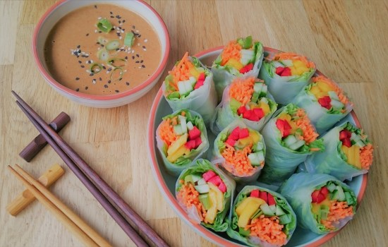 Vietnamese spring rolls with peanut dressing