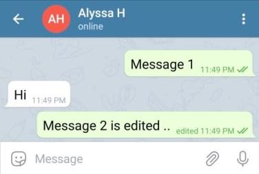 edited message on telegram