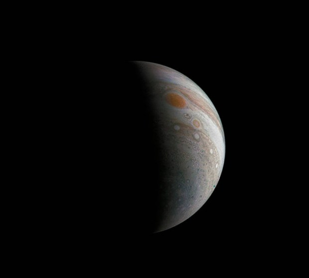 Crescent Jupiter with the Great Red Spot