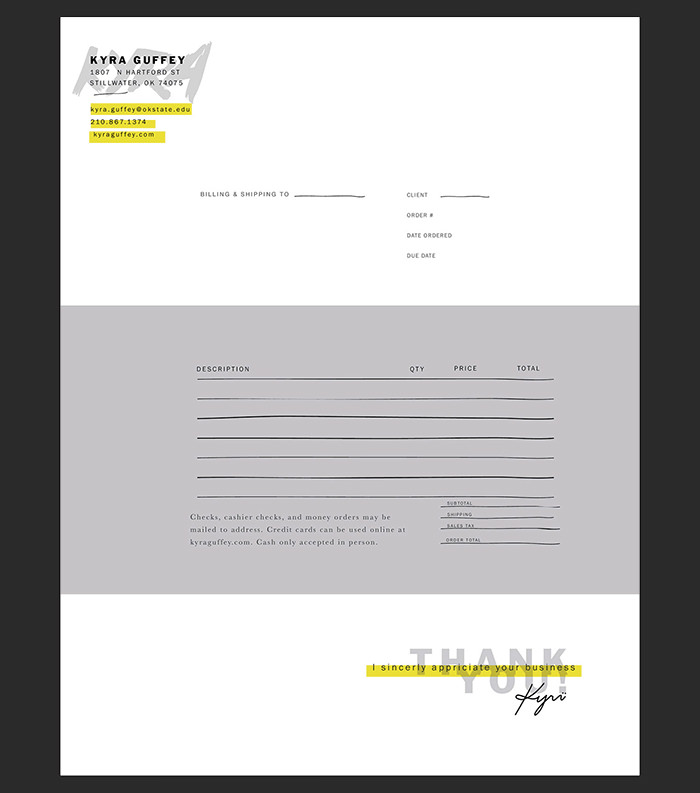 self promotion invoice