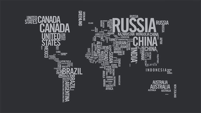world map typography