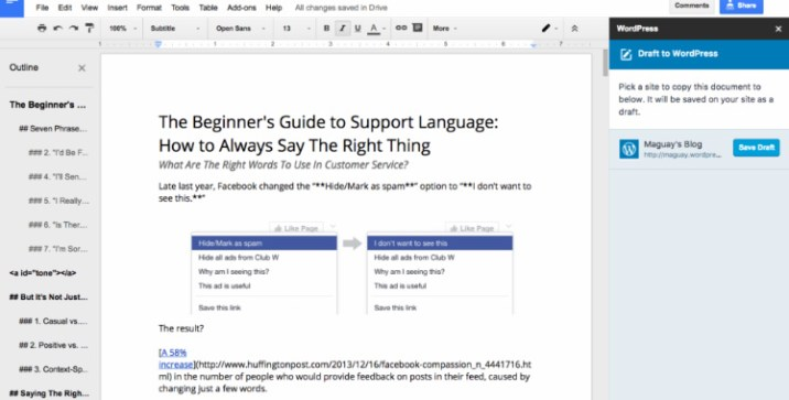 WordPress for google docs