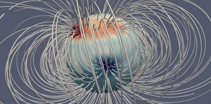 Equatorial view of Jupiter's magnetic field