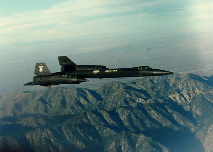 Lockheed YF-12 flying over a mountain