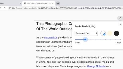Reader mode - Chrome flags