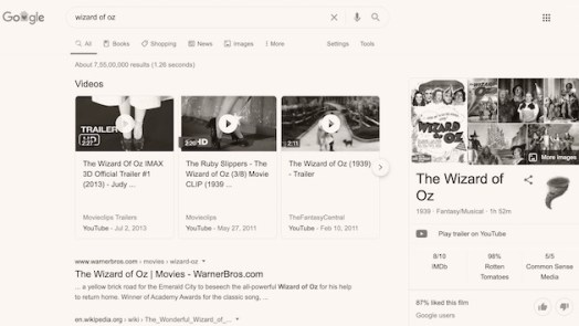 Wizard Of Oz - cool Google tricks