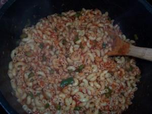 add the macaroni and combine