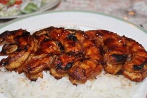 BBQ Shrimp served over Rice