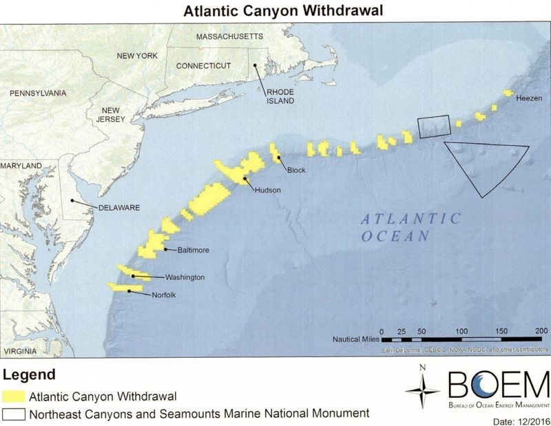 The areas marked in yellow designate what was made off-limits by Obama's use of the 1953 Outer Continental Shelf Lands Act.