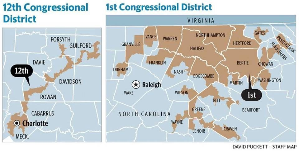 """North Carolina's illegal, """"racially gerrymandered"""" congressional districts (<a href="""