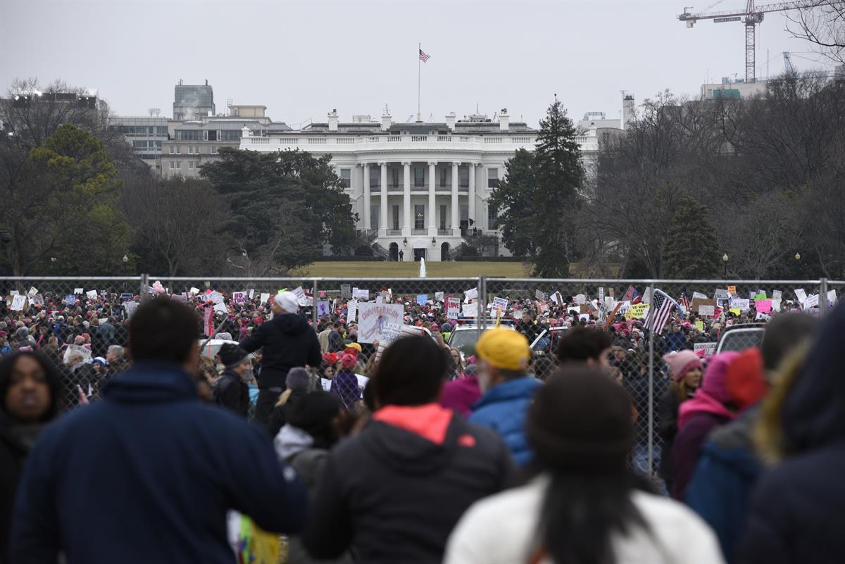 Demonstrators attend the Women's March on Washington near the White House. Jan. 21, 2017 (AP Photo/Sait SerkanGurbuz)