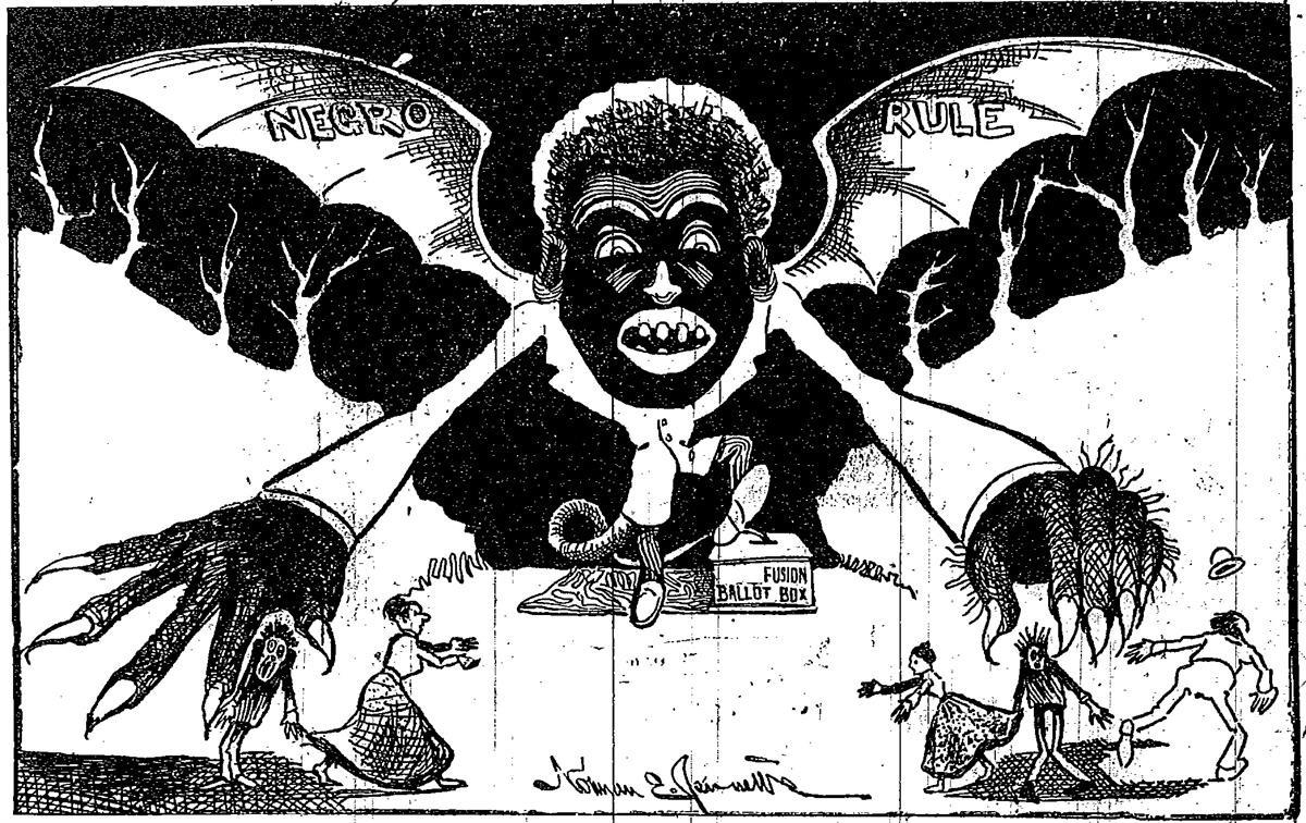 A racist anti-Fusion newspaper cartoon that ran in both the 1898 and 1900 North Carolina elections (Norman Jennet /Reddit).