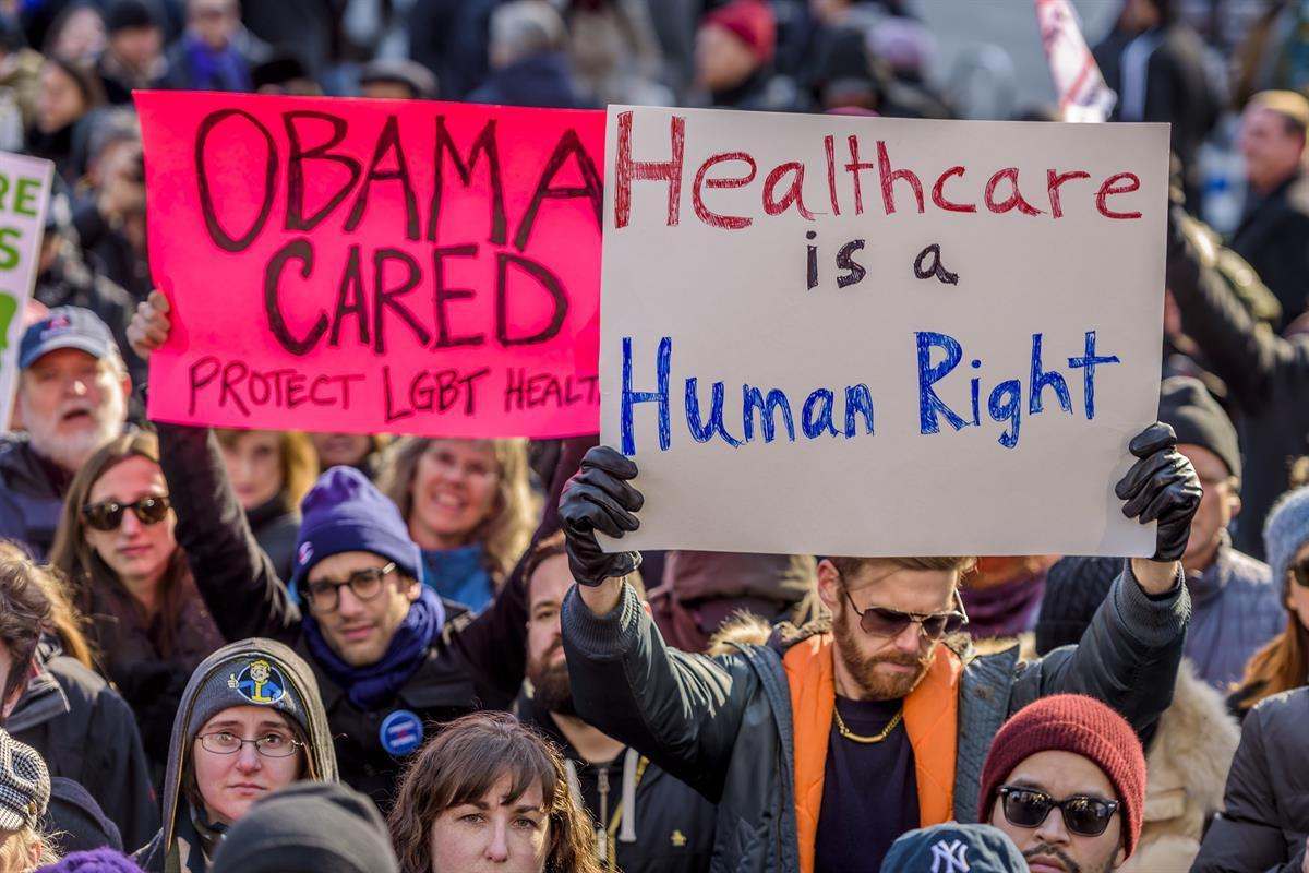 Hundreds of activists hold a peaceful protest at Trump Tower in New York City to fight against the repeal of Obamacare. January 15, 2017 (Photo by Erik McGregor) (Sipa USA viaAP)
