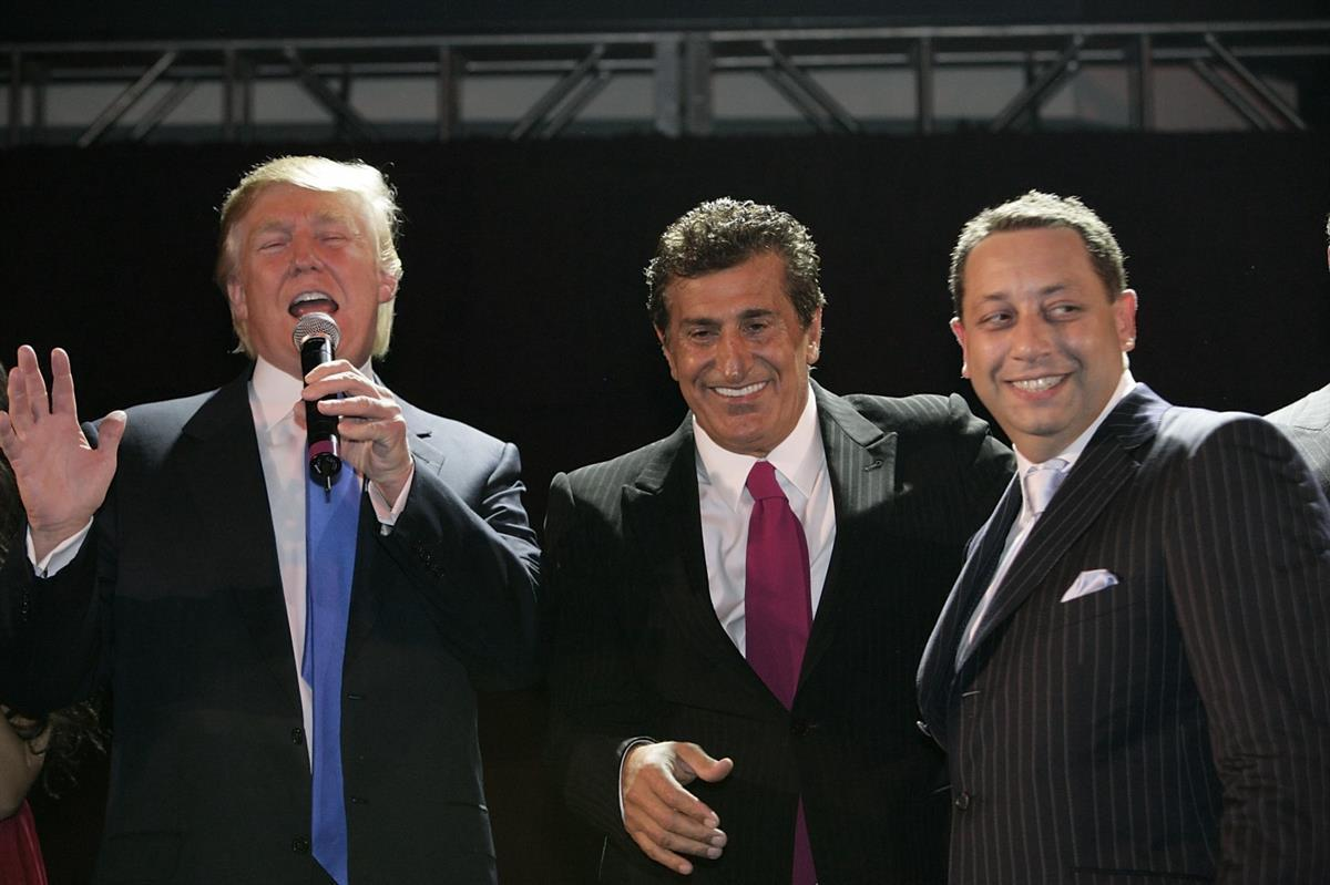 From Left: Donald Trump, Bayrock Group Chairman Tevfik, and Felix Sater at the Trump Soho launch party on Sept. 19, 2007, in New York. (Mark Von Holden/WireImage)