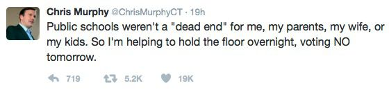 Tweet from Senator Chris Murphy on February 6,2017