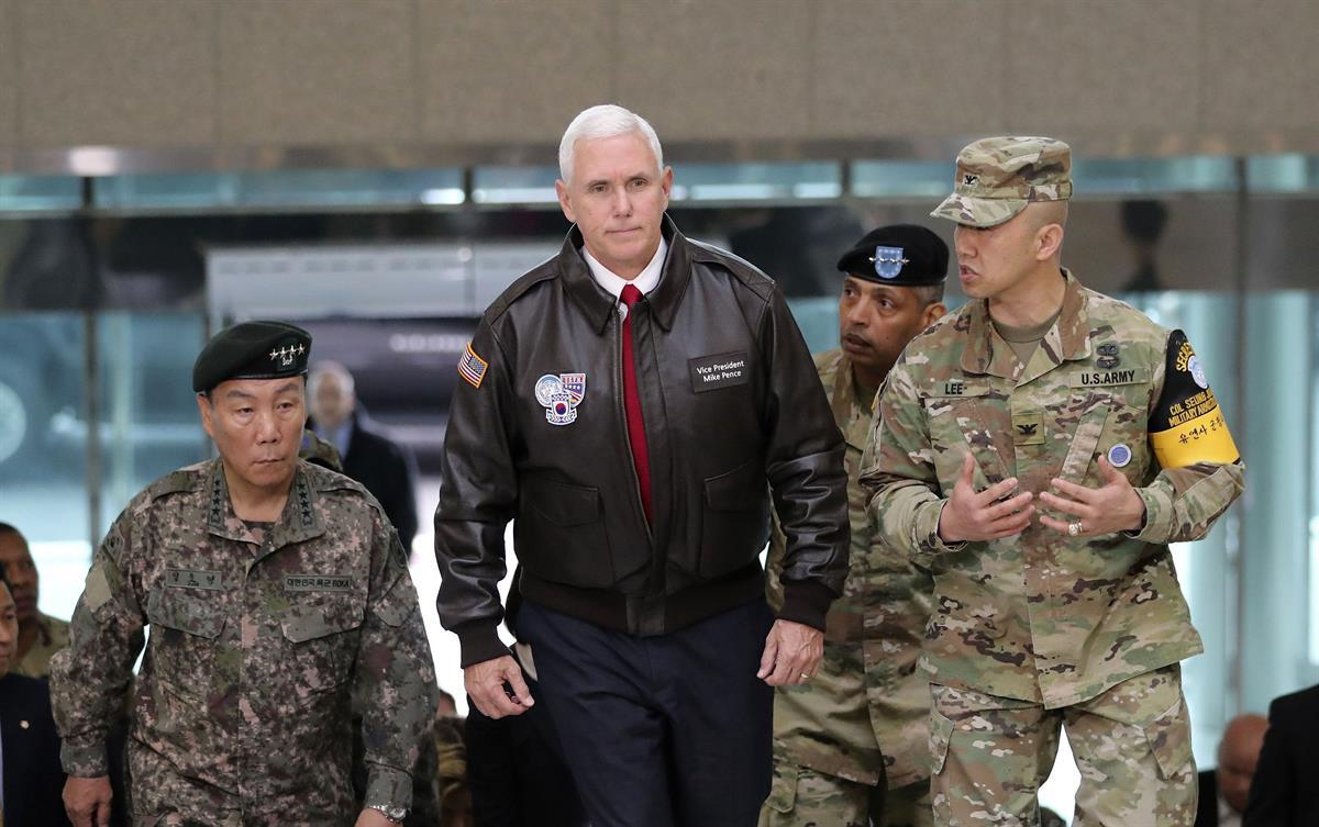 Vice President Mike Pence arriving at the South Korean border village of Panmunjom in the Demilitarized Zone (Lee Jin-man/AP)