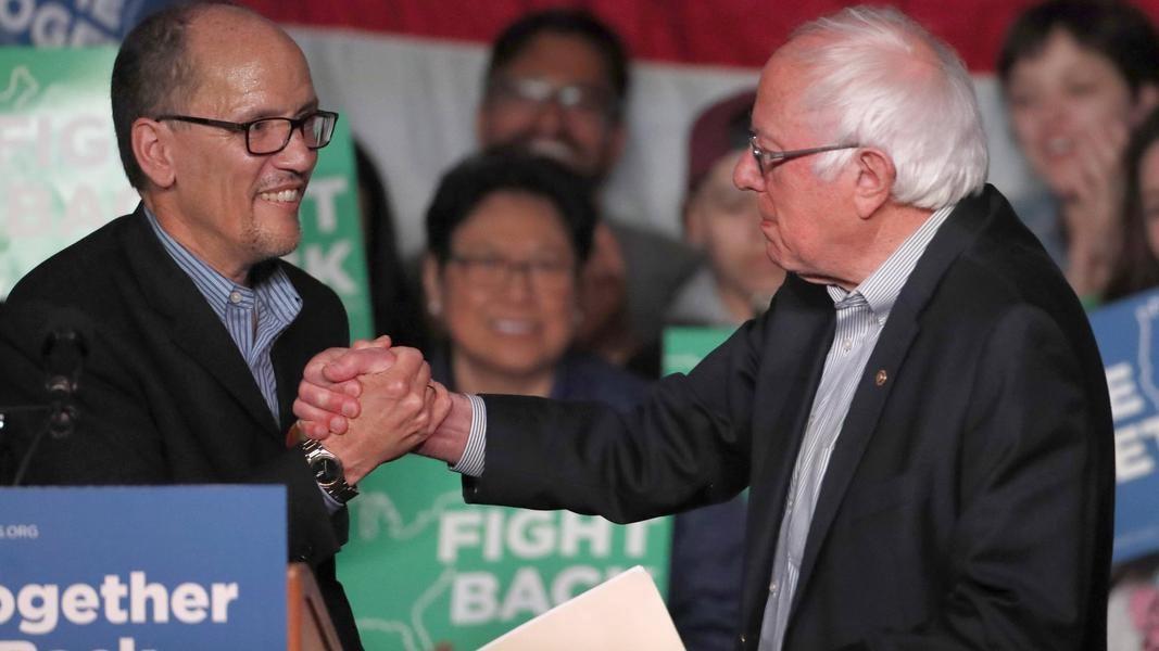 DNC Chair Tom Perez and Senator Bernie Sanders (D-VT) in Salt Lake City, Utah—April 21, 2017 (GettyImages)