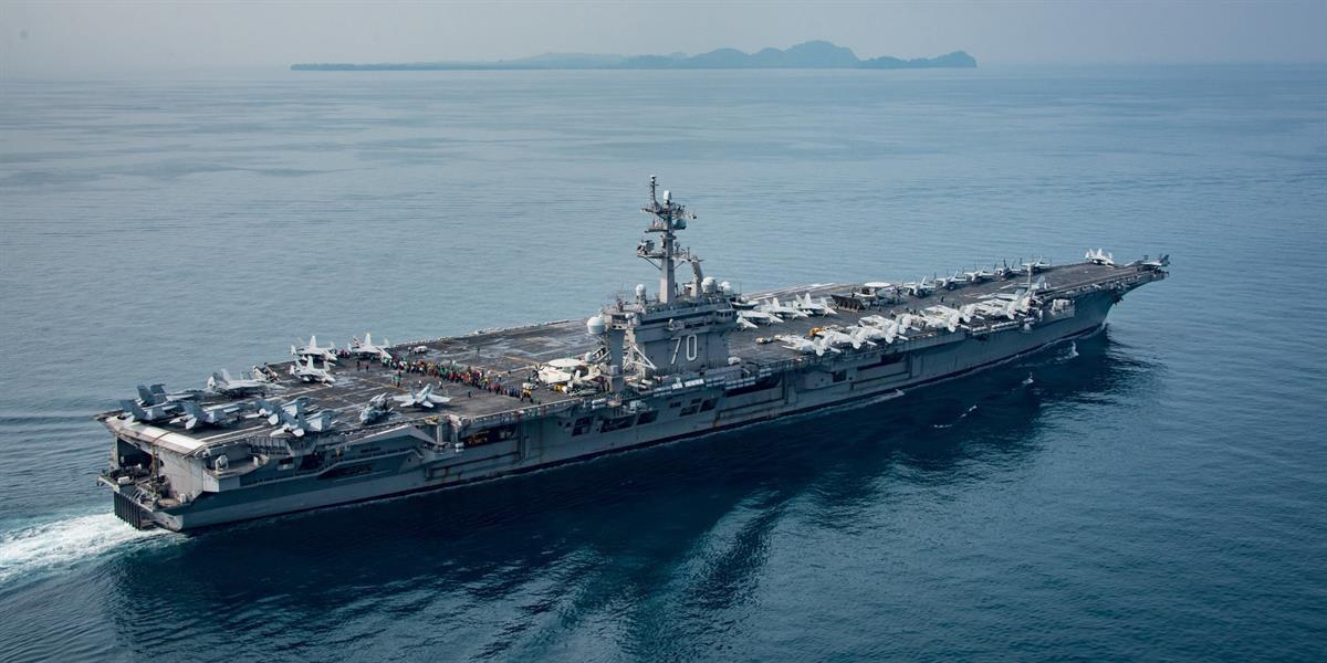 The aircraft carrier USS Carl Vinson in the Sunda Strait, Indonesia, on April 15 (US NAVY PHOTO/SEAN M CASTELLANO)