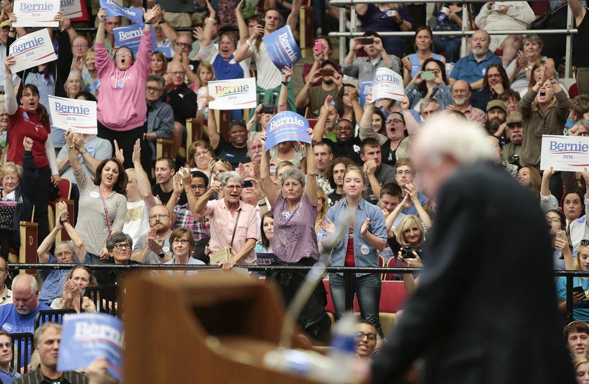 Bernie Sanders rally in Madison, Wis. (Michael P King/Wisconsin State Journal, viaAP)