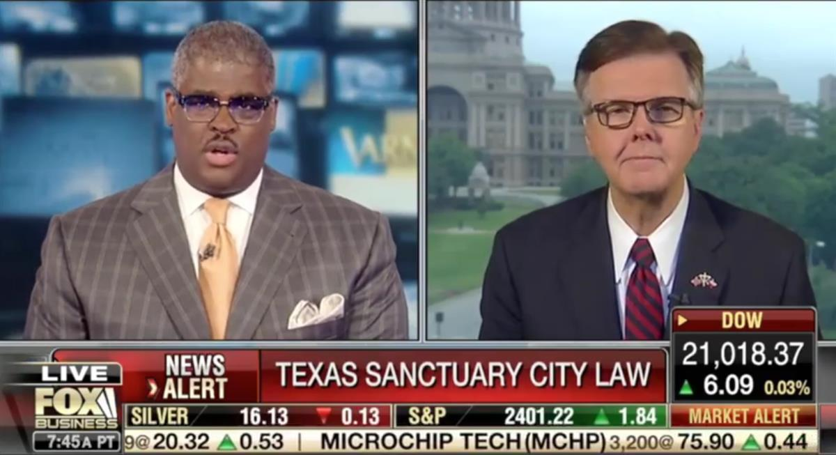 Texas Lt. Governor Dan Patrick discusses Senate Bill 4 on Fox Business (via Facebook/@dan.patrick.texas)