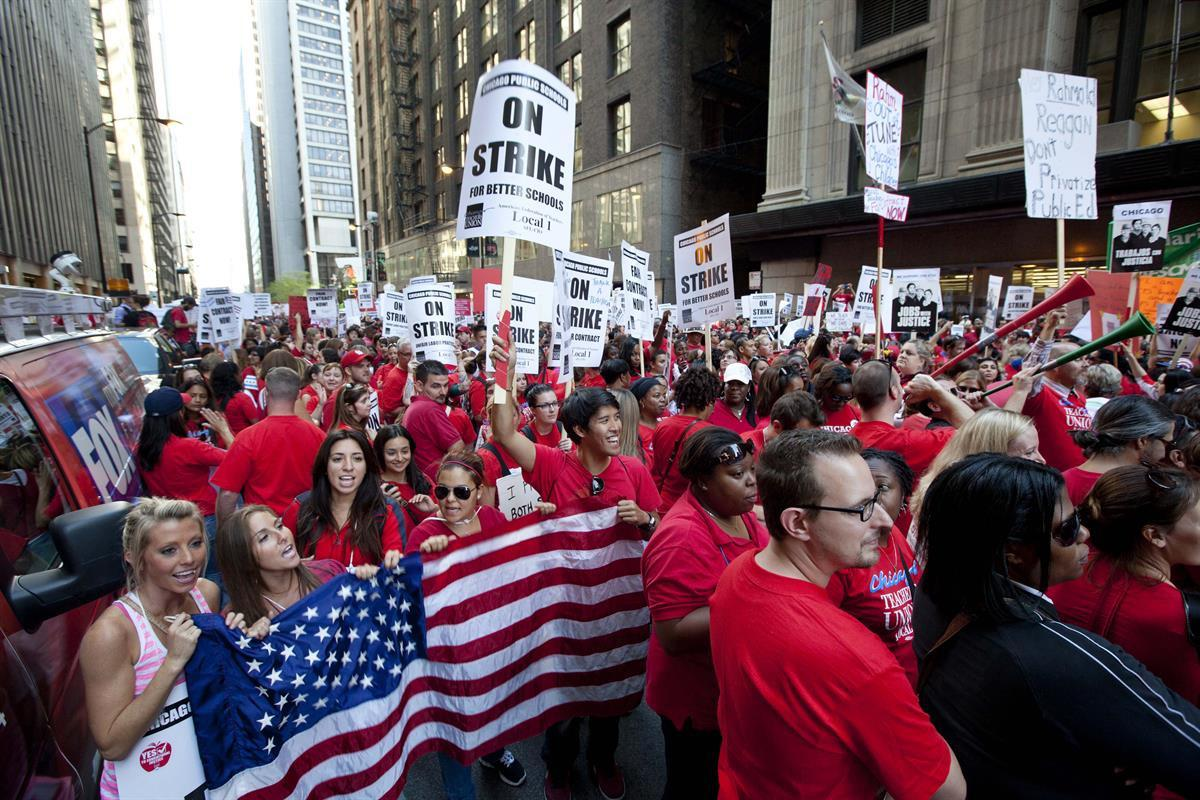 Thousands of public school teachers on strike in Chicago — September 2012 (AP Photo/Sitthixay Ditthavong, File)
