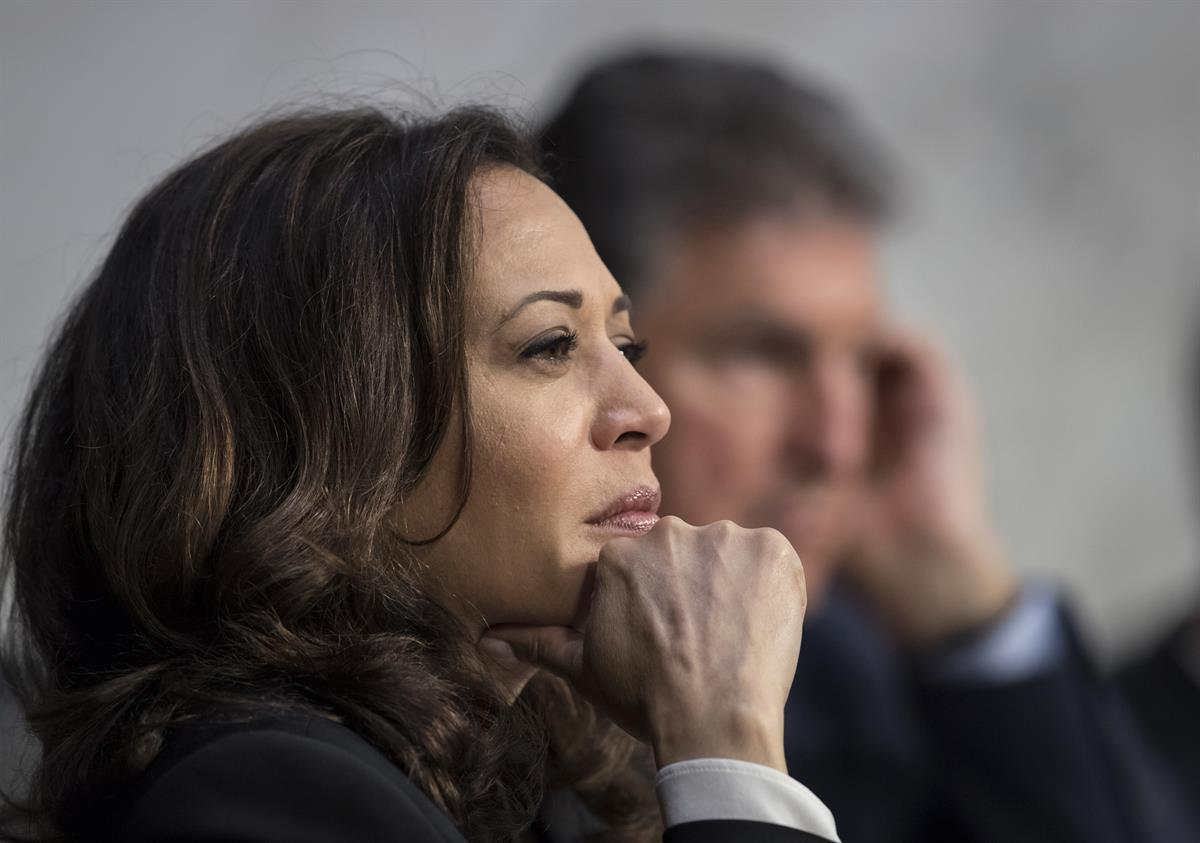 Sen. Kamala Harris, D-Calif., listens to testimony from top national security chiefs during a Senate Select Committee on Intelligence hearing Capitol Hill in Washington—June 7, 2017. (AP/J. Scott Applewhite)