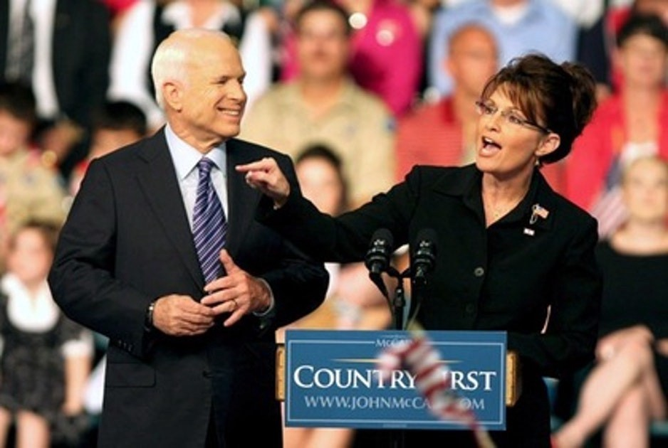 McCain and Palin on the campaign trail in 2008.