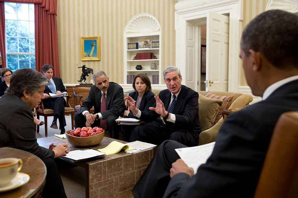 FBI Director Robert Mueller leads a briefing for the President on the Boston Marathon bombings. (Official White House Photo by PeteSouza)