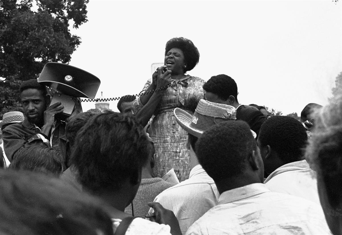 Fannie Lou Hamer speaks to Mississippi Freedom Democratic Party in 1965. AP.